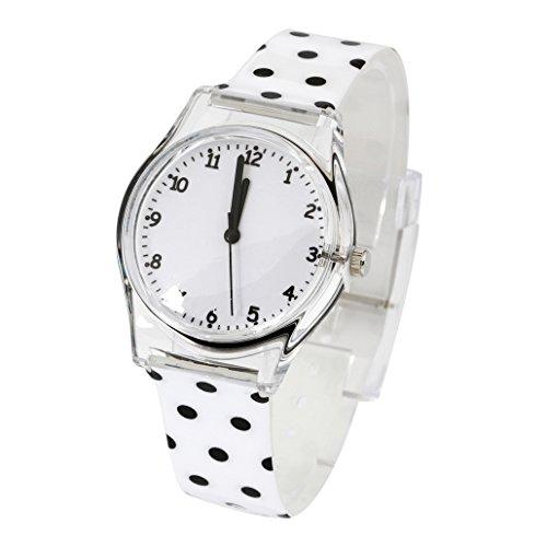 Frauenuhr Fashion Armbanduhr Damen Analog Quarz Uhr Gepunktetes Gummiarmband Weiss