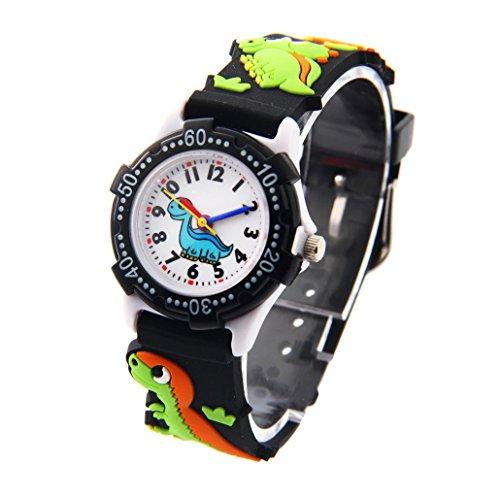 Kinder Uhr Kinderarmbanduhr Analog Digital Uhr Quarz Uhrwerk Gummi Armband 3D Bilder Schwarz Dinosaurier