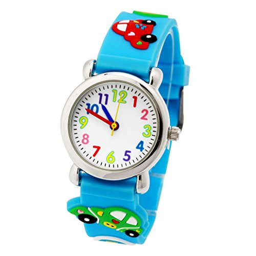 Kinder Uhr Kinderarmbanduhr Analog Digital Uhr Quarz Uhrwerk Gummiarmband 3D Bilder Blaues Fahrzeug