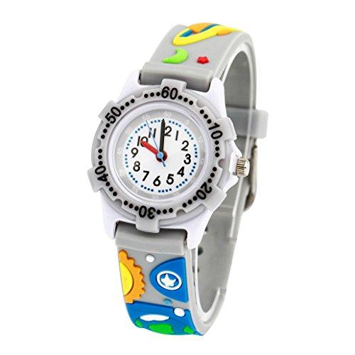 Kinderuhr Junge Armbanduhr Analog Quarz Uhr Gummi Armband 3D Bilder Grau Weltraum