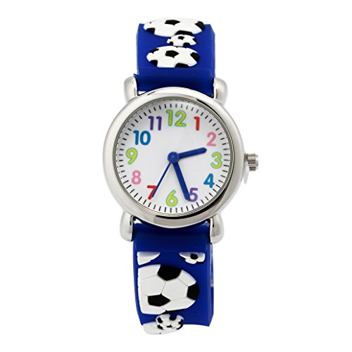 Kinderuhr Armbanduhr Analog Digital Uhr Sportuhr Lernuhr Fussball 3D Bilder