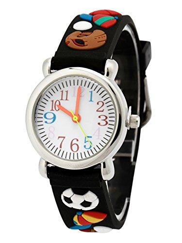 Kinderuhr Junge Armbanduhr Analog Digital Uhr Rundes Zifferblatt Gummi Armband 3D Bilder Schwarz Baseball