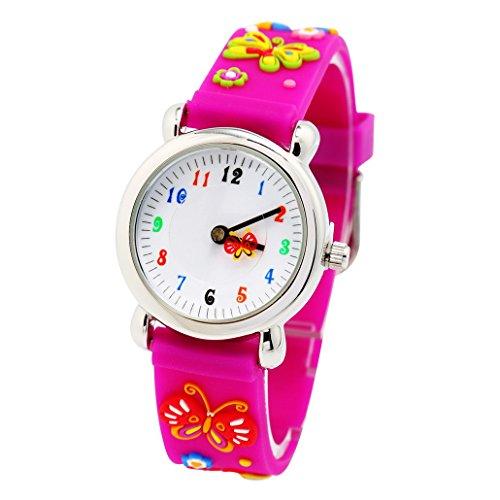 Kinderuhr 3D Bilder Analog Quarz Uhr Gummi Armband Pink Schmetterling