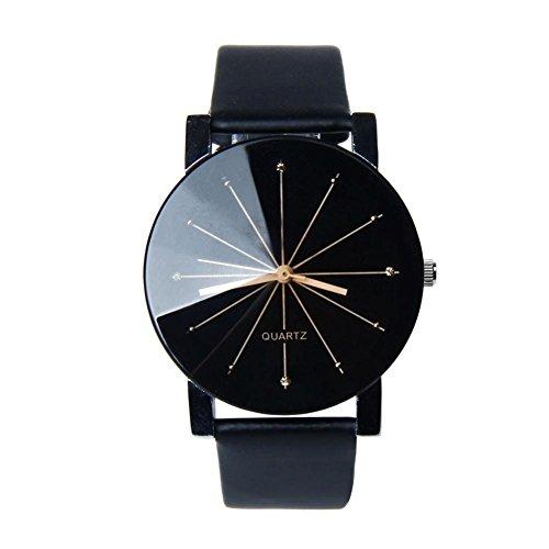 FEITONG Quarzuhr Armbanduhr Elegant Uhr Modisch Zeitloses Design Klassisch Leder Schwarz 2