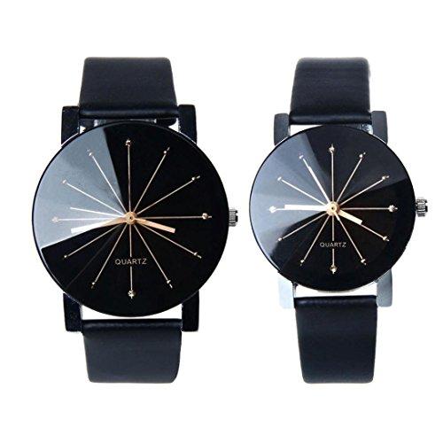 FEITONG 1 Paar Damen und Quarzuhr Elegant Uhr Modisch Zeitloses Design Klassisch Leder Schwarz