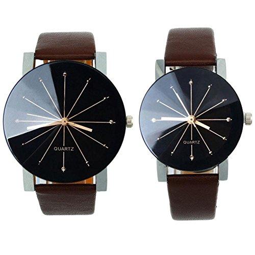 FEITONG 1 Paar Damen und Quarzuhr Elegant Uhr Modisch Zeitloses Design Klassisch Leder Kaffee