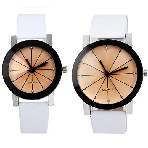 FEITONG 1 Paar Damen und Quarzuhr Elegant Uhr Modisch Zeitloses Design Klassisch Leder Weiss