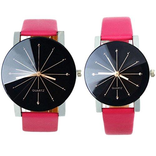 FEITONG 1 Paar Damen und Quarzuhr Elegant Uhr Modisch Zeitloses Design Klassisch Leder Heisses Rosa