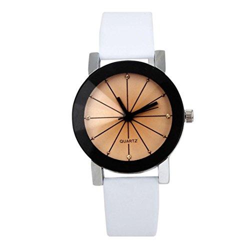 FEITONG Quarzuhr Armbanduhr Elegant Uhr Modisch Zeitloses Design Klassisch Leder Weiss