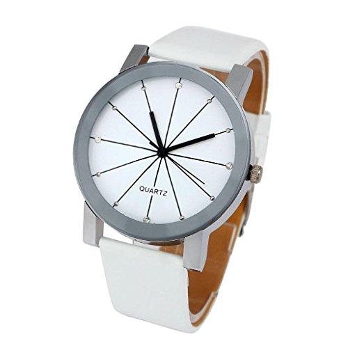 FEITONG Elegant Uhr Modisch Quarzuhr Zeitloses Design Klassisch Leder Weiss