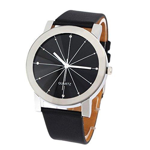 FEITONG Elegant Uhr Modisch Quarzuhr Zeitloses Design Klassisch Leder Schwarz