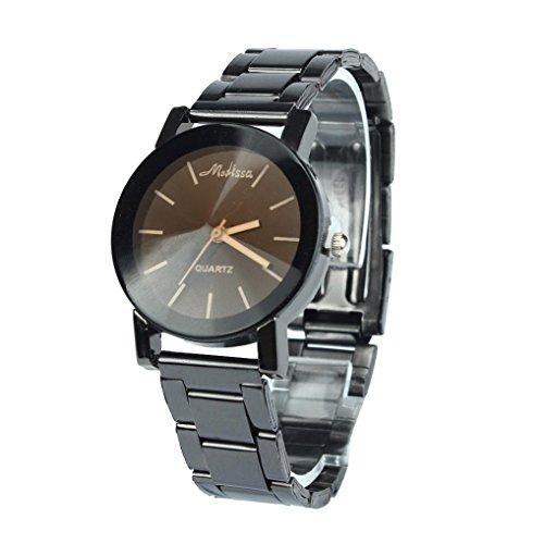 FEITONG Quarzuhr Armbanduhr Elegant Uhr Modisch Zeitloses Design Klassisch Edelstahl Schwarz 2