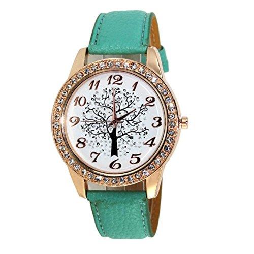 FEITONG Damen Art und Weise Weihnachtsbaum Diamant weibliche Art Uhr Gruen