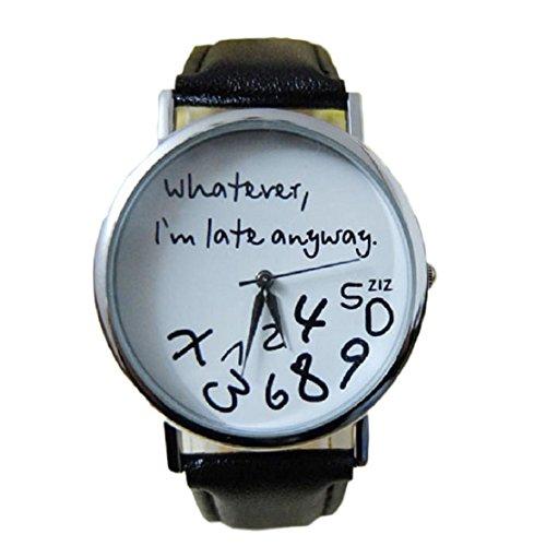 FEITONG Damenuhr Armbanduhr Quarzuhr Elegant Schwarz PU Leder Uhr NEU Whatever I am Late Anyway