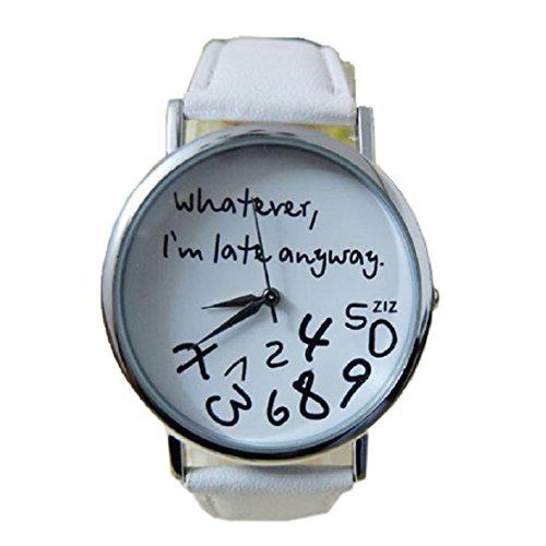 FEITONG Armbanduhr Quarzuhr Elegant Weiss PU Leder Uhr NEU Whatever I am Late Anyway