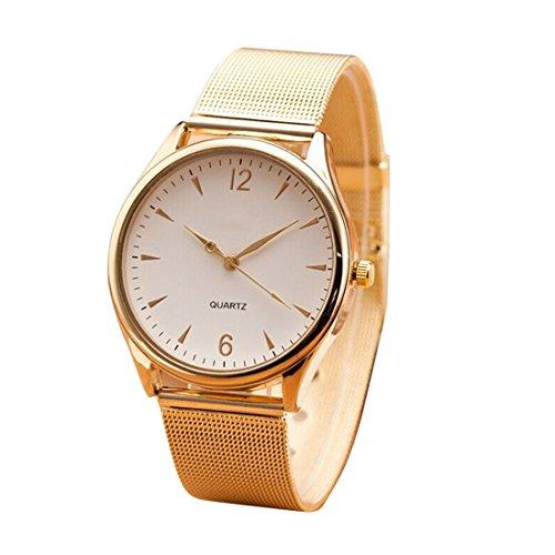 FEITONG Damenuhr Mode Golden Edelstahl Armband Analoge Quarz Armbanduhr Weiss