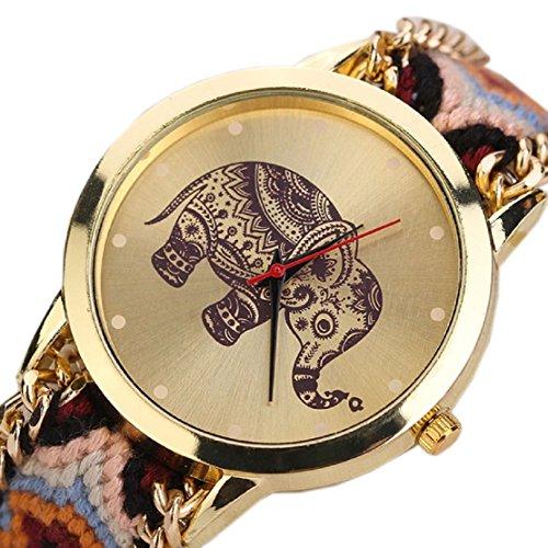 FEITONG Einzigartig Elefant Muster Gesponnenes Seil Band Quarz Dial Armbanduhr Orange Neu