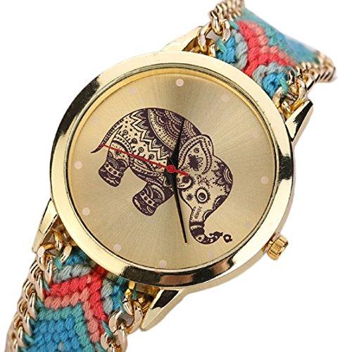 FEITONG Einzigartig Elefant Muster Gesponnenes Seil Band Quarz Dial Armbanduhr Rot Blau Neu