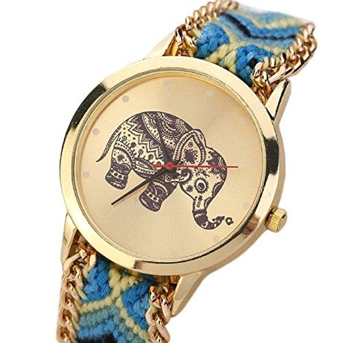 FEITONG Einzigartig Elefant Muster Gesponnenes Seil Band Quarz Dial Armbanduhr Gelb Blau Neu
