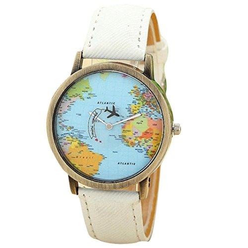 FEITONG Damenuhr Kleiden Uhr Global Travel Mit dem Flugzeug Karte Muster Denim Gewebe Band Armbanduhr Weiss