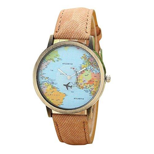 FEITONG Damenuhr Kleiden Uhr Global Travel Mit dem Flugzeug Karte Muster Denim Gewebe Band Armbanduhr Kaffee