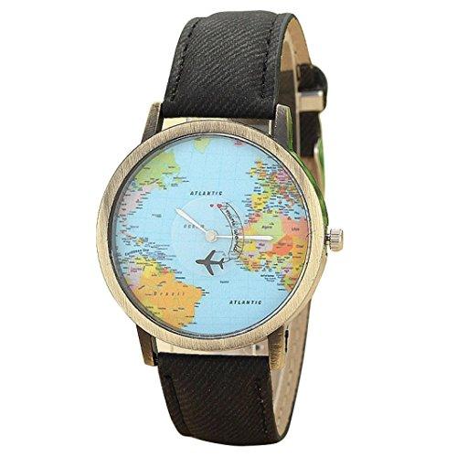 FEITONG Damenuhr Kleiden Uhr Global Travel Mit dem Flugzeug Karte Muster Denim Gewebe Band Armbanduhr Schwarz