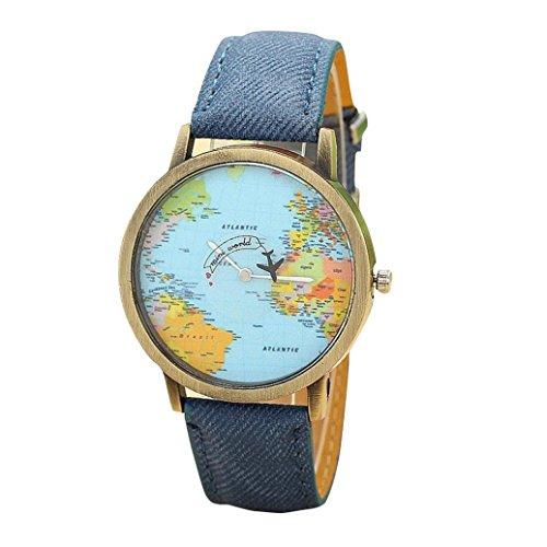 FEITONG Damenuhr Kleiden Uhr Global Travel Mit dem Flugzeug Karte Muster Denim Gewebe Band Armbanduhr Blau
