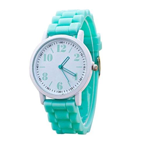 FEITONG Mode Damenuhr Sport Silikon Band Quarz Uhren Armbanduhr Minzgruen