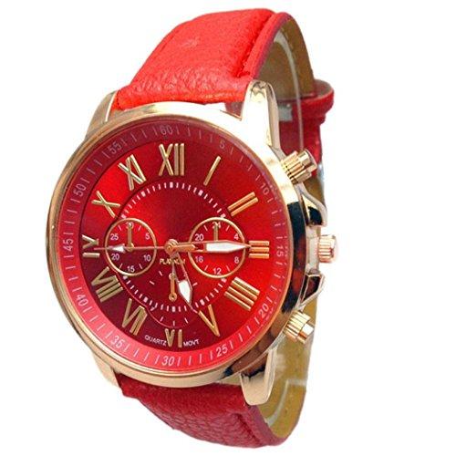 FEITONG Damenuhr Stilvolle Ziffern Kunstleder Analoge Quarz Armbanduhr Rot