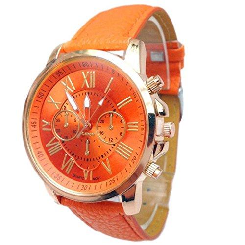 FEITONG Damenuhr Stilvolle Ziffern Kunstleder Analoge Quarz Armbanduhr Orange