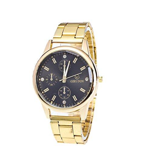 FEITONG Mens Uhren Diamond Dial Gold Stahl Analog Quarz Armbanduhr Schwarz