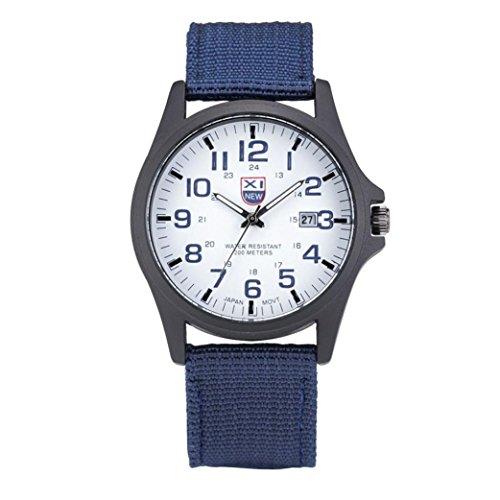 FEITONG Maenner Datums Edelstahl Militaer im Freiensport analoge Quarz Armee Armbanduhr Blau
