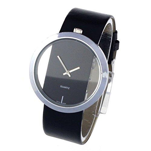 FEITONG Damen Einzigartig Uhr PU Leder Transparenter Vorwahlknopf Hohl Analoge Quarz Armbanduhr Schwarz