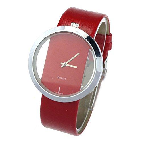 FEITONG Damen Einzigartig Uhr PU Leder Transparenter Vorwahlknopf Hohl Analoge Quarz Armbanduhr Rot