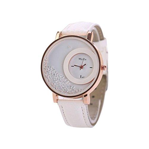 FEITONG Damen Einzigartig Uhr PU Leder Treibsand Rhinestone Analoge Quarz Armbanduhr Weiss