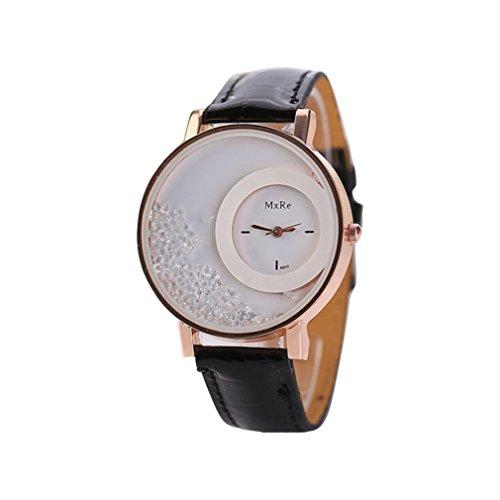 FEITONG Damen Einzigartig Uhr PU Leder Treibsand Rhinestone Analoge Quarz Armbanduhr Schwarz