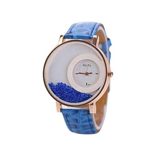 FEITONG Damen Einzigartig Uhr PU Leder Treibsand Rhinestone Analoge Quarz Armbanduhr Blau