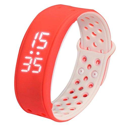 FEITONG W9 Sport Fitness Tracker Schrittzaehler Smart Watch Wasserdicht Armband Rot Weiss