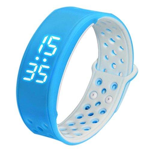 FEITONG W9 Sport Fitness Tracker Schrittzaehler Smart Watch Wasserdicht Armband Blau Weiss
