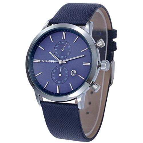 FEITONG Mode Beilaeufige Wasserdichte Leder Band Militaer Analoge Quarz Datum Armbanduhr Blau Neu