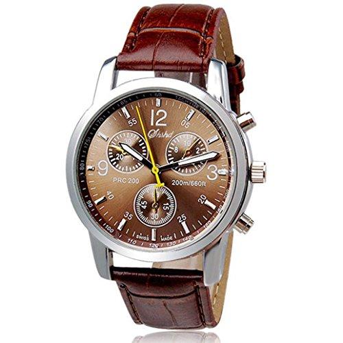 FEITONG Herrenuhr Luxus PU Leder Band Analog Quarz Armbanduhr Braun Uhren