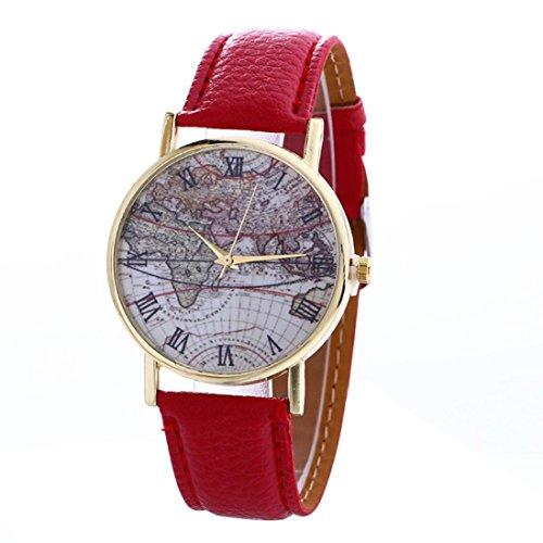 FEITONG Karte Muster Mode Frauen Farbige PU Leder Uhren Rot