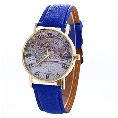 FEITONG Karte Muster Mode Frauen Farbige PU Leder Uhren Blau