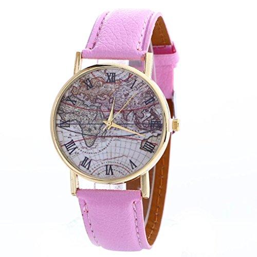 FEITONG Karte Muster Mode Frauen Farbige PU Leder Uhren Rosa