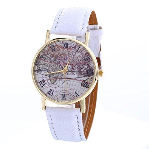FEITONG Karte Muster Mode Frauen Farbige PU Leder Uhren Weiss