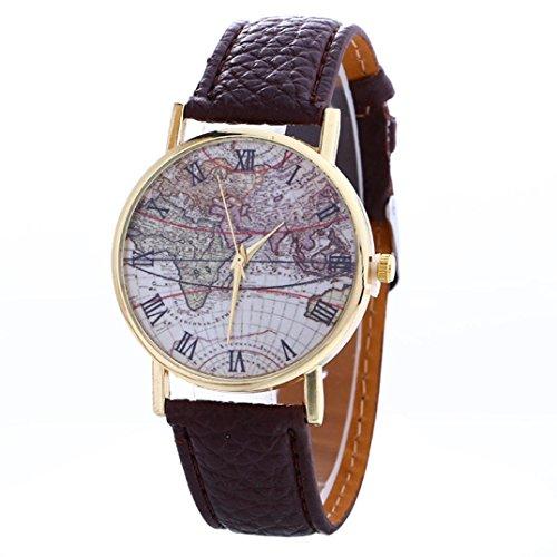 FEITONG Karte Muster Mode Frauen Farbige PU Leder Uhren Braun
