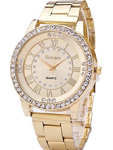 FEITONG Damenuhr Luxus Uhr Kuenstlich Kristallrhinestone Edelstahl Band Analoge Quarz Armbanduhr Golden