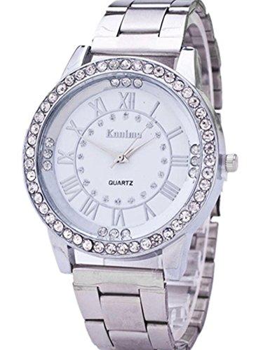 FEITONG Damenuhr Luxus Uhr Kuenstlich Kristallrhinestone Edelstahl Band Analoge Quarz Armbanduhr Silber