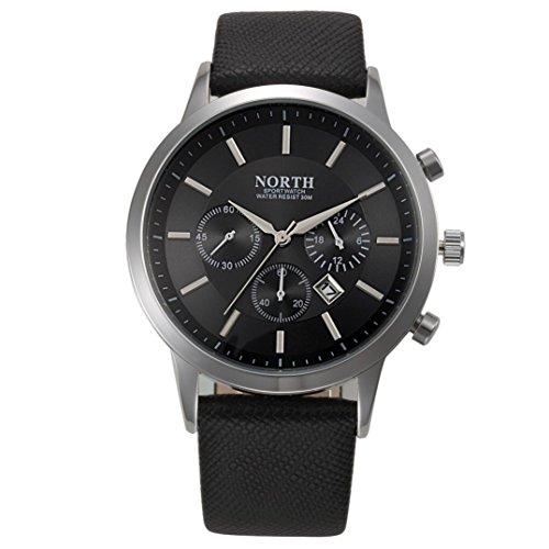 FEITONG NORTH Sport Luxuxmens echtes Leder Band analoge Quarz Uhren Armbanduhr Schwarz