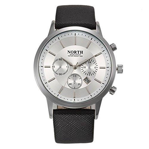 FEITONG NORTH Sport Luxuxmens echtes Leder Band analoge Quarz Uhren Armbanduhr Weiss